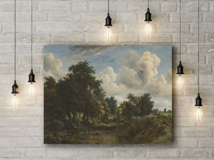 Meindert Hobbema: A Wooded Landscape. Fine Art Canvas.